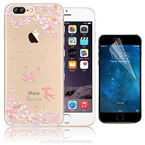 iPhone 7 Plus Custodia (5.5) , Bonice iPhone 7 Plus Cover, Trasparente Morbido Ultra Slim Thin Crystal Clear Cover + 1x Protezione Schermo Screen – Coccinella Model 20