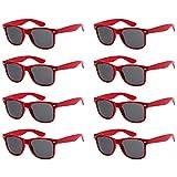 Colores Neon Articulos de Fiesta Gafas de sol de Cuadradas (8 piezas rojo)