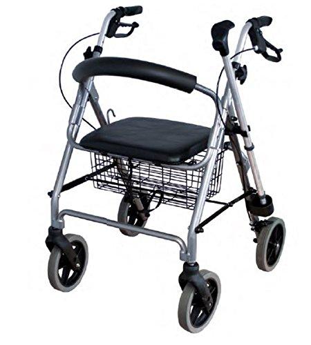 FabaCare Premium Leichtgewicht-Rollator Set N-2200 Lite, Aluminium, höhenverstellbar, faltbar, mit Sitz, Rückenlehne, Korb, Gehwagen, Rollwagen, Alurollator, bis 120 kg, mit FabaCare Sicherheitsreflektoren