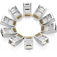 UGREEN 10 Unidades de Conectores RJ45 Blindados 8PCS STP para Cable Ethernet Cat6, Compatible con