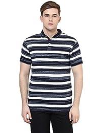 Cayman Navy Blue Striped Regular Fit Polo T-Shirt