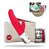 Fun Factory LADY BI rot Dual Vibrator aus Silikon für Klitoris und G-Punkt (inklusive Tasche + Gleitgel)