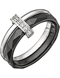 Dreambase Damen-Ring rhodiniert Silber Keramik 1 Zirkonia