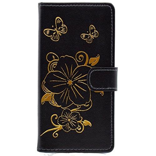 iPhone Case Cover Pour iPhone 6 Plus & 6s Plus Bronze Papillon Modèle Horizontal Flip PU Housse en Cuir avec Porte-Carte & Card Slots & Wallet ( Color : Gold ) Black