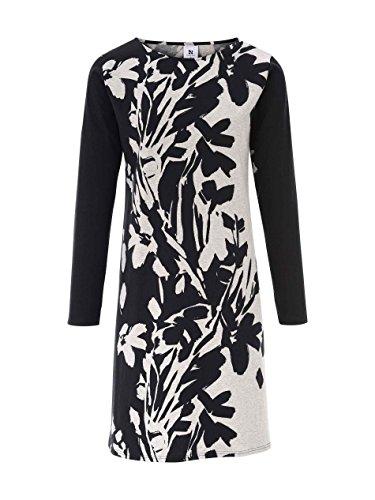 Nanso Runo Nachtkleid mit Floralprint, Länge 95cm Damen Schwarz