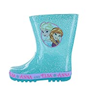New Girls/Childrens Turquoise Frozen Character PVC Wellington Boots (UK 12 Infant, Turquoise/Glitter)