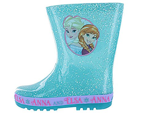 Disney New Girls/Childrens Turquoise Frozen Character PVC Wellington Boots