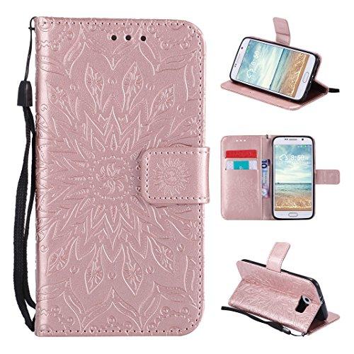 Galaxy S6 Funda, Carcasa Libro de PU de Cuero Impresión Asnlove PU Leather Con TPU Silicona Interna, Soporte Plegable, Ranuras para Tarjetas y Billetera, Cierre Magnético para Samsung Galaxy S6
