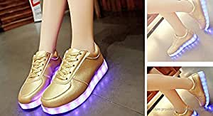 LED Light Up Lace Up Couple Shoes Sneakers (Size 41/Gold) - Size 41, Gold