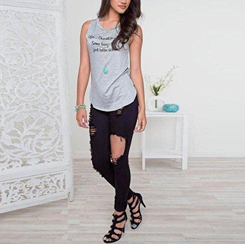 WOCACHI Damen Blusen Frauen beiläufige Pullover Shirt Sleeveless Druck Bluse Top T-shirt Grau