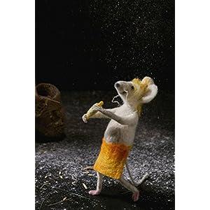 Handgemachte gefilzte Maus Kunst Puppe Nadelfilz Tier Wolle Skulptur Miniatur Puppe Umweltfreundliche lustige weiße Maus Mäuse Figur
