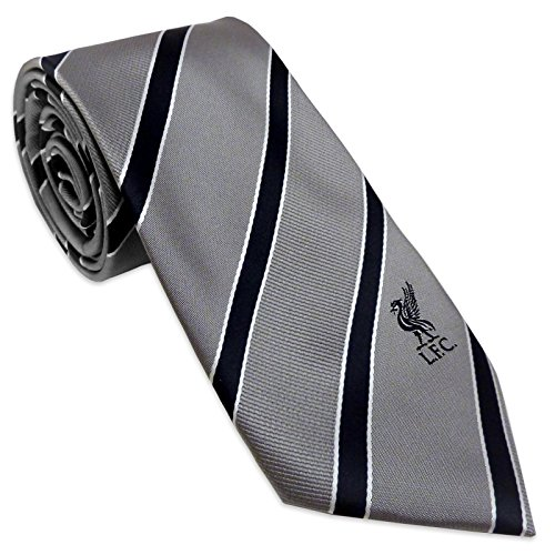 Liverpool F.C. Liverpool FC Official Football Gift Club Crest Tie Grey Black Striped