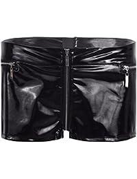 TiaoBug Femme Zip Short en Cuir Brillant Lingerie Collant Caleçon Élastique  Pantalon Court Mini Short pour e170843931c