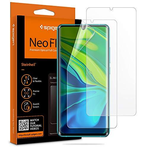 Spigen, 2 Pièces, Protection écran Xiaomi Mi Note 10/10Pro, NeoFlex, Compatible avec capteur à Ultrason, Couverture maximale, TPU Film, Liquid Installation, Film Protection ecran Mi Note 10/10Pro