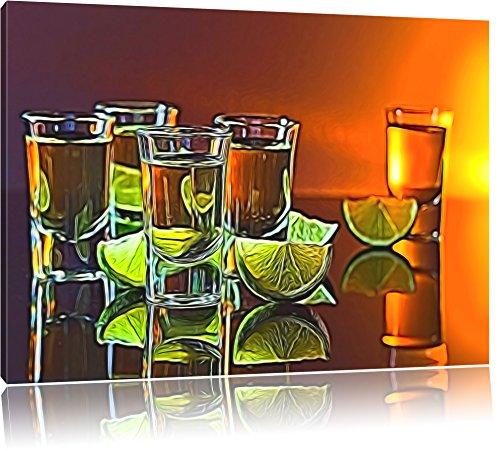 Tequila Shots mit Limetten abstrakt auf Leinwand, XXL riesige Bilder fertig gerahmt mit Keilrahmen, Kunstdruck auf Wandbild mit Rahmen, günstiger als Gemälde oder Ölbild, kein Poster oder Plakat, Format:120x80 cm