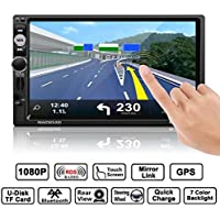Auto Radio Double Din, Footprintse Autoradio Bluetooth 7 Pouces Ecran Tactile Full HD1080P, IR Télécommande / FM/ AM/ RDS/ TF/ USB/ GPS avec Carte/ Voiture MP5 Player Stéréo avec Caméra de Recul
