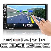 Auto Radio Dual Din, Footprintse Car Audio Bluetooth Pantalla táctil de 7 pulgadas Full HD1080P, Control remoto por infrarrojos / FM / AM / RDS / TF / USB / GPS con tarjeta /Car MP5 Player con cámara