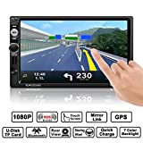 Auto Radio Double Din, Footprintse Autoradio Bluetooth 7 Pouces Ecran Tactile Full HD1080P, IR Télécommande / FM/ AM/ RDS/ TF/ USB/ GPS avec Carte/ Voiture MP5 Player Stéréo avec Caméra de Recul