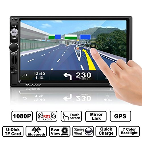 "OUTAD Autoradio Bluetooth GPS, 7"" Wince 2 DIN MP5 Player, 1080P Touchscreen, Mirrorlink/Lenkradfernbedienung/Navigation/Freisprechfunktion/Rückfahrkamera/RDS/USB/TF/AUX IN/Ausgabe, 8GB TF Karte"