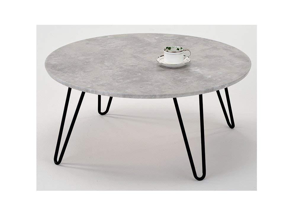 Meubletmoi Table Basse Ronde Pied Metal Vintage Plateau Effet