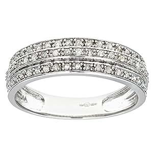 Naava 9 ct White Gold 0.25ct Triple Row Diamond Half Eternity Ring