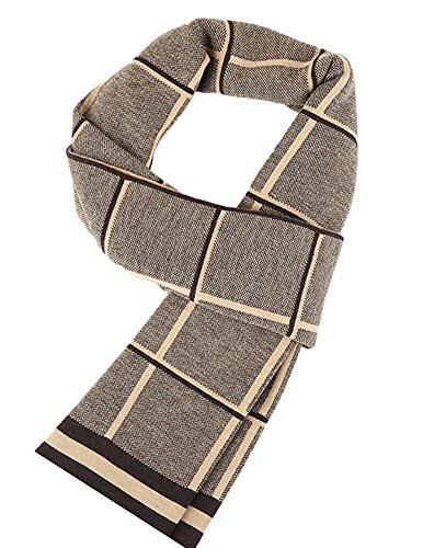 Insun -  Sciarpa  - Uomo 100% wool Yellow and Coffee Taglia unica