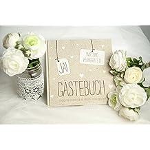 """Gästebuch Hochzeit """"JA!"""" 'Wir sind verheiratet' in Kraftpapier-Look mit kleinen weißen Herzen"""