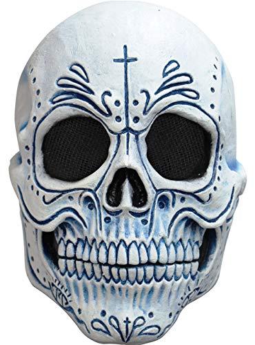 Mens Day of the Dead Blue Catrin Schädel Maske (Tag Der Toten Für Erwachsene Standard Kostüm)