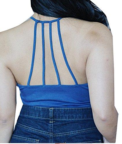 Damen Normallacks Böhmischen Strand Ärmellos Sporttops Weste Sportweste Spaghetti Bügel T-Shirt Tops Blusen Blau