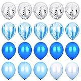 Blau & Silber Konfetti Ballons Achat Marmor Streifen Sortiert Farben Party Ballon [12 Zoll, Packung mit 20] Metallic Latex Ballons für Baby Shower Geburtstag Hochzeit NYE Party Dekoration Versorgung