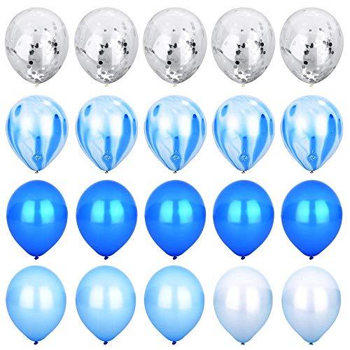 Blau & Silber Konfetti Ballons Achat Marmor Streifen Sortiert Farben Party Ballon [12 Zoll, Packung mit 20] Metallic Latex Ballons für Baby Shower Geburtstag Hochzeit NYE Party Dekoration Versorgung (Blau-silber Weiße Luftballons Und)
