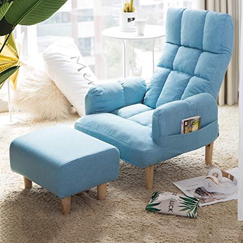 Schlafzimmer Liege (Liegestuhl Esszimmerstuhl Rückenlehne Sessel Schlafzimmer Wohnzimmer Balkon Freizeit Sofa Stuhl Terrasse Gartenstuhl Schwangere Frau Liegestühle (Color : Light Blue+Footstool))