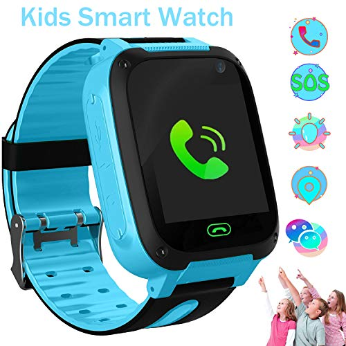 Kids Smart Watch Phone with LBS Flashlight Touch Screen Anti-lost Alarm Smart Watches for Kids Outdoor Activities Toys Birthday Gift(Blue)