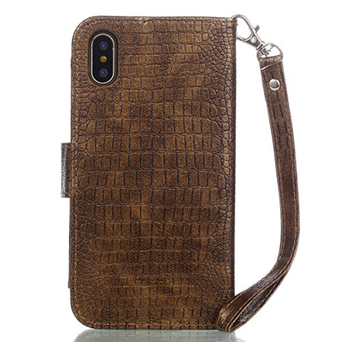 Casefashion Cover iPhone 8 Cassa Custodia Crocodile Grain PU Leather Protettivo Case Flip Stand Cover with Zipper Purse Built-in Card Slots and Lanyard Protettore for iPhone 8 (Red) doro