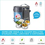 Homecare Venus Stylish and Trendy 2.3 L Vacuum Insulated Stainless Steel Lunch Box with 4 Spill-Proof containers - Easy handling Bag | BPA Free | (Blue)