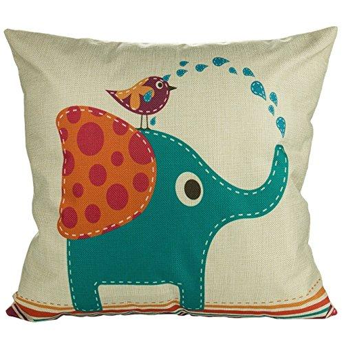 Luxbon Grün Elefant Vogel Wasser Trinken Dauerhaft Leinen Kissenbezug mit Reißverschluss Sofa Büro Dekokissen 45x45 cm -