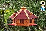 Garten-Vogelhaus-Blockhaus, XXXL 75 cm mit Anflugbrett,rot, Anflugbrettchen