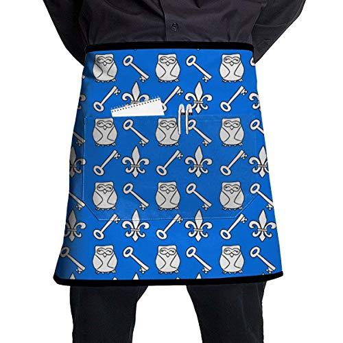 Waist Apron with Pockets Keys and Owls Half Waist Waitress Server Apron for Restaurant Kitchen Garden 21