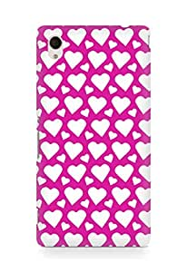 AMEZ designer printed 3d premium high quality back case cover for Sony Xperia M4 (dark pink white hearts)
