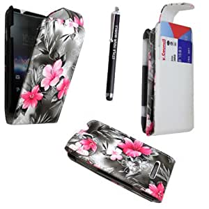 STYLEYOURMOBILE SONY XPERIA E C1505 PU LEATHER MAGNETIC FLIP CASE SKIN COVER POUCH + SCREEN PROTECTOR + STYLUS (PINK FLOWER DARK GREY FLIP)