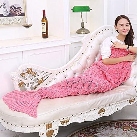 Mermaid Schwanz Decke handgefertigt Weich Schlafsack Häkeln Stricken Wohnzimmer Decke Alle Jahreszeiten Sofa Snuggle Teppich beste Mode Geburtstag Weihnachten Geschenk 190cmx90cm (Mermaid Gamaschen Kostüm)