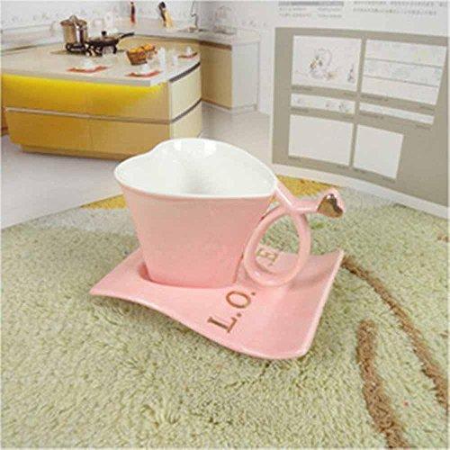 SSBY Verre en forme de coeur de porcelaine, tasses à café en forme de coeur et soucoupes, loving couple Cup, cadeaux créatifs , pink