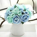 Ineternet 1 Bouquet 9 têtes Artificiel Rose Faux Soie de faux Fleur Feuille Bridal Home Party Decor de Mariage (Bleu)
