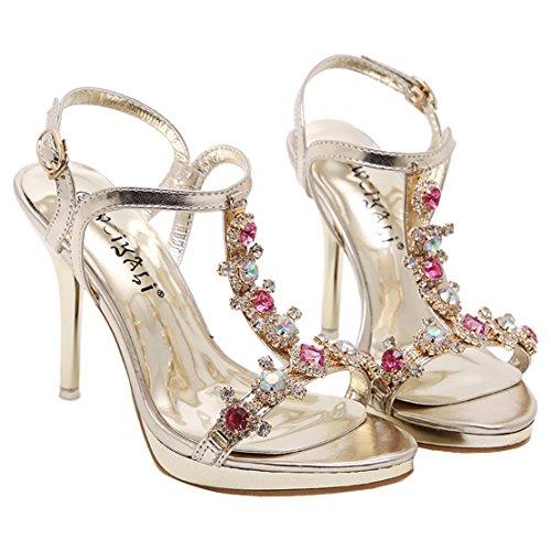 AIYOUMEI Damen Knöchelriemchen T-spangen Stiletto Goldene Sandalen mit Strass Modern Abend Schuhe Gold