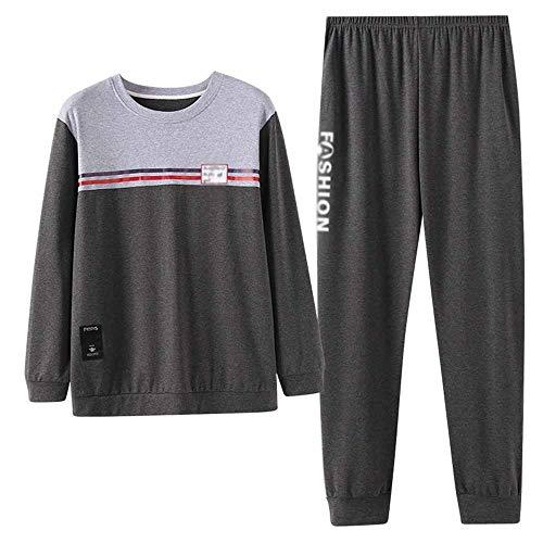 LERDBT Herren Pyjama Sets Cotton Kontrast Männer Rundhalsausschnitt-Jugend Home Service Studenten Freizeit Set Männerschlafanzug Langarm Für Männer (Color : Photo Color, Size : XXXL)