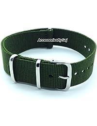 G10 Nato Nylon Watch Strap,Military Green, (16,18,20,22 & 24mm width's) (24mm)