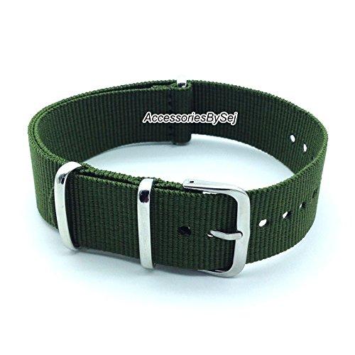 AccessoriesBySej NATO G10 Strap Militär Nylon Uhrenarmband Armband Watch Strap - Verschiedenen Größen 18mm, 20mm, 22mm, 24mm - Verfügt über Luxuriöse Geschenktüte TM (Khaki, 24mm) -