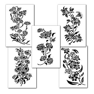 Verschiedene Blumen Wandbild Ölgemälde Schablonen Dekorieren Airbrush Craft 35,6cm Vorlage 5Pack