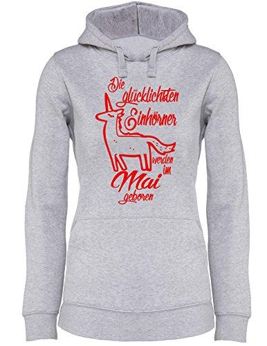 Die Glücklichsten Einhörner werden im Mai geboren Perfektes Geschenk zum Geburtstag  Damen Hoodie Grau/Rot