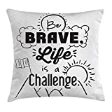 hat-bag Quotes Pillow Case Be Brave Life is a Challenge Enduring Incentive Mountain Peak Sunrise Flag Art 18 X 18 inches